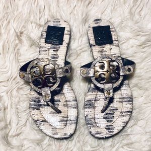 Tory Burch Snakeskin Print Miller Sandals